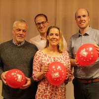 Der geschäftsfüherede Vorstand v.r.n.l. Christian Niederkrüger (Schriftführer), Sebastian Oppermann (Kassier), Verena Schmidt-Völlmecke (Vorsitzende) und Tim Roll (stelllv. Vorsitzender)
